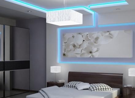Впечатляващи спални с LED осветление