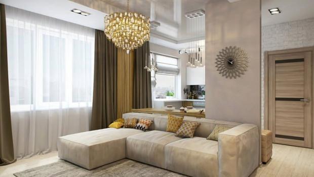 Модерен интериор на малък апартамент 58 кв.м.