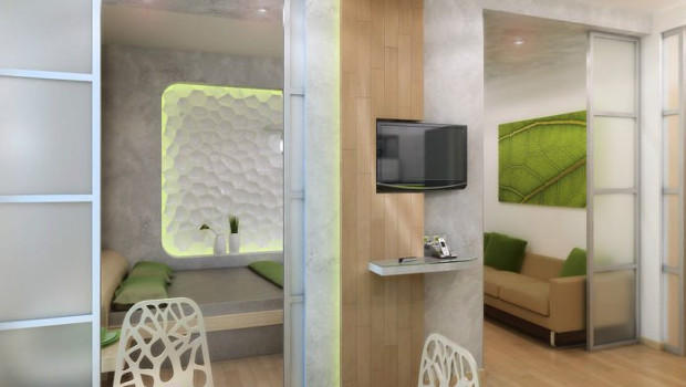 Проект на малък апартамент в свежо зелено