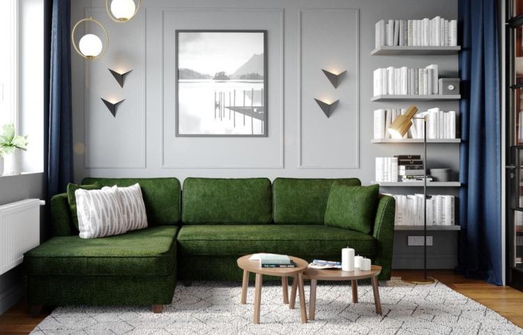 Зеленият диван в интериора