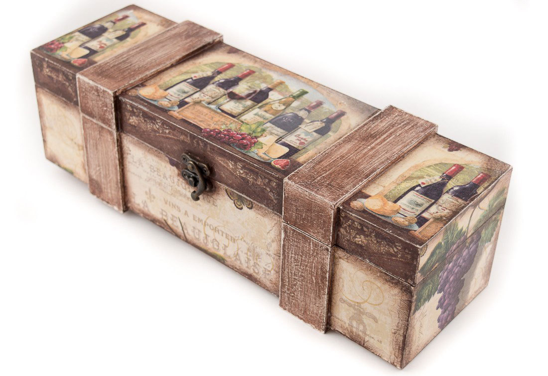 """Декупирана кутия за вино """"Бордо"""""""