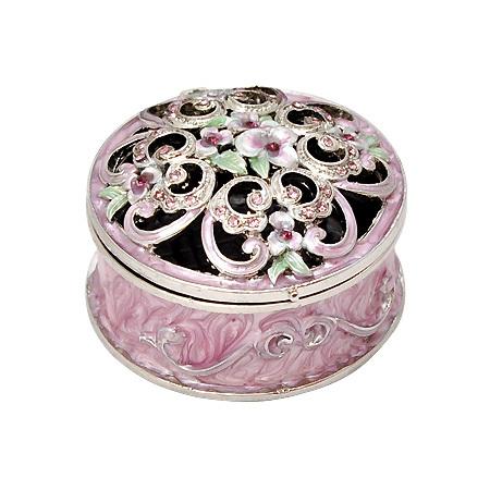 Кутия за бижута кръгла светла