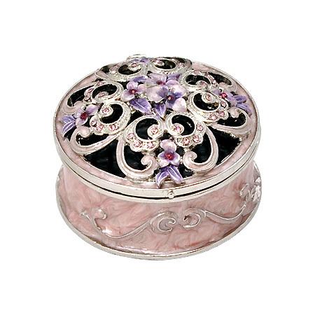 Кутия за бижута кръгла пурпур