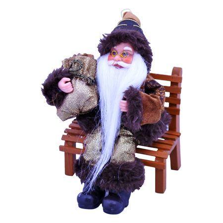 Дядо Коледа на пейка златен 18см.