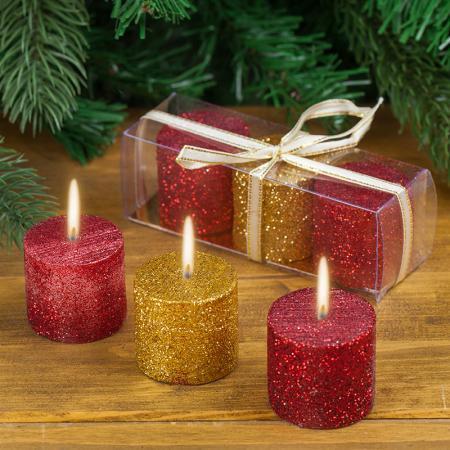 Коледни свещи цветни
