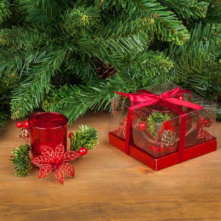 Коледен свещник червен