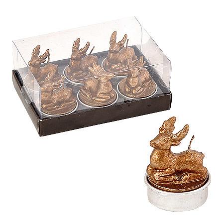 Свещ еленчета 6бр. амбър
