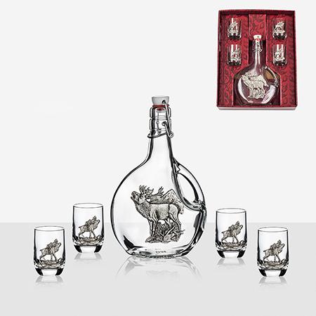 Сет бутилка+4 чаши за ракия