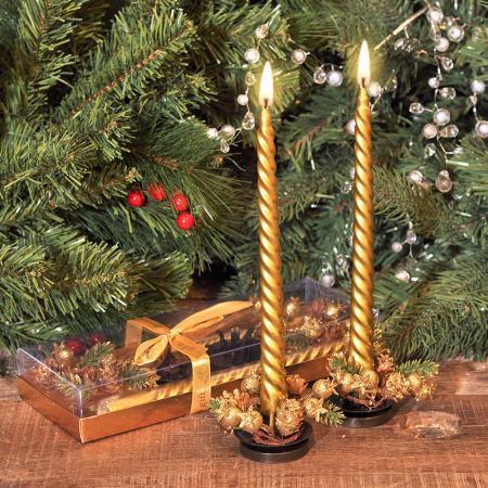 Свещи 2 бр. злато