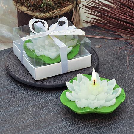 Свещ лотус листо бяло