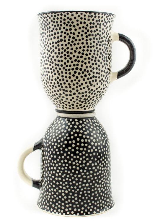 """Комплект големи керамични чаши """"Черно и бяло"""""""