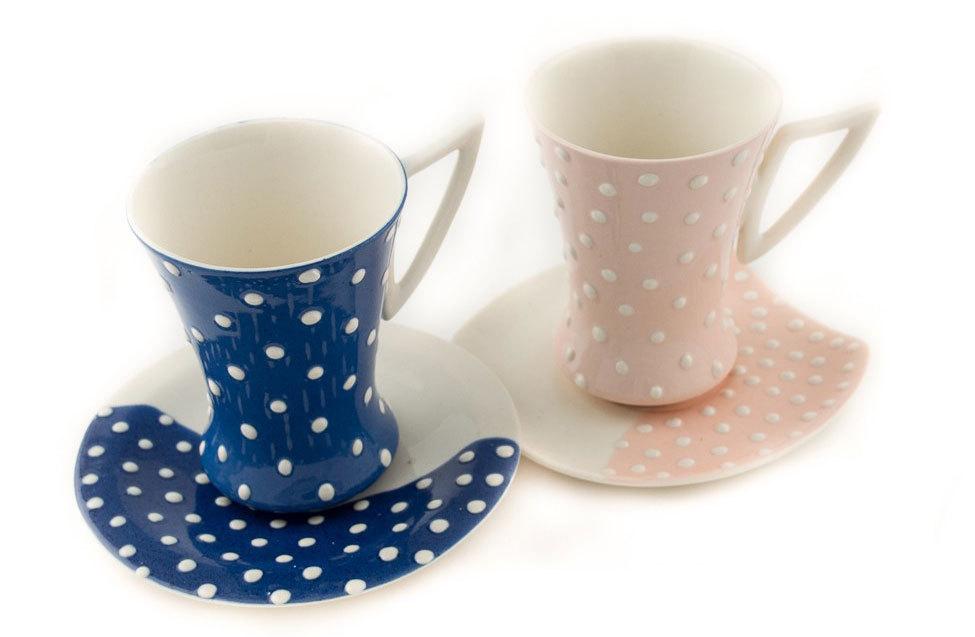 """Комплект порцеланови чаши """"Малки бели точки"""" - синя и розова"""