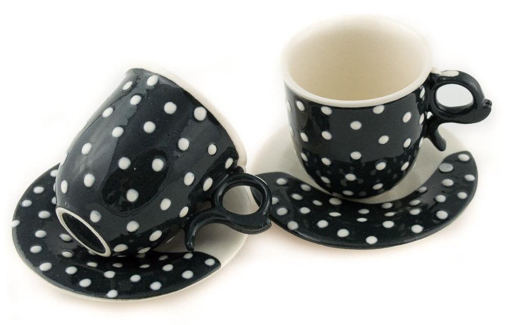 """Комплект порцеланови чаши """"Малки бели точки"""""""