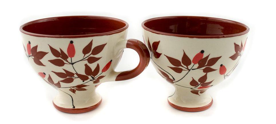 "Комплект големи керамични чаши ""Шипки"""