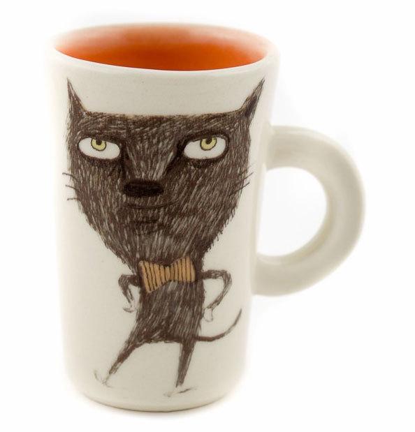 """Ръчно изработена чаша """"Котка с папионка"""""""