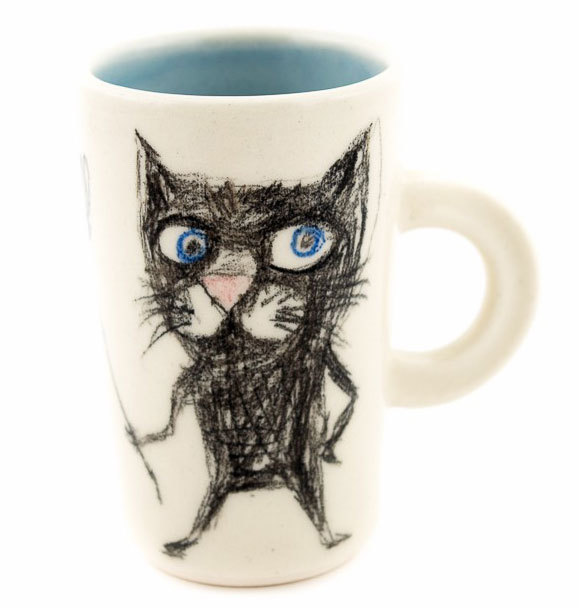 """Ръчно изработена чаша """"Котка с метла"""""""