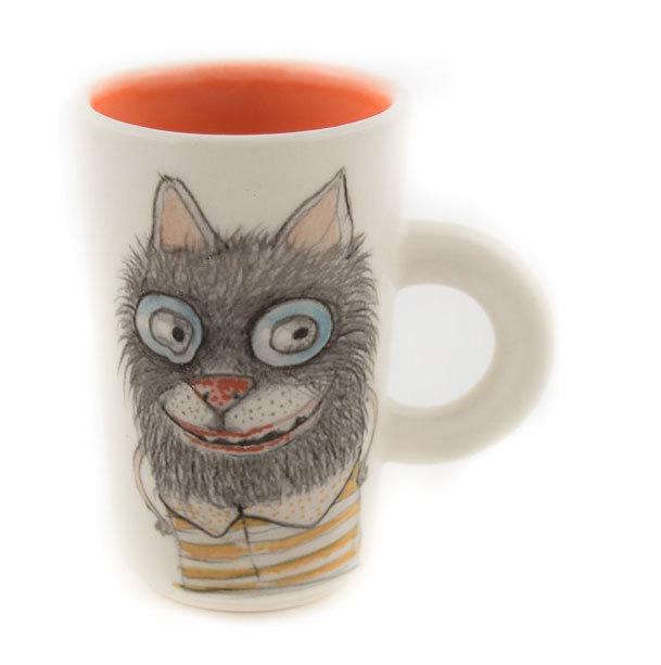 """Ръчно изработена чаша """"Котка"""""""