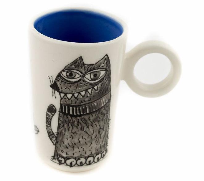 """Ръчно изработена чаша """"Черна котка"""""""