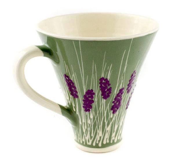 """Голяма керамична чаша """"Бяло и зелено"""""""