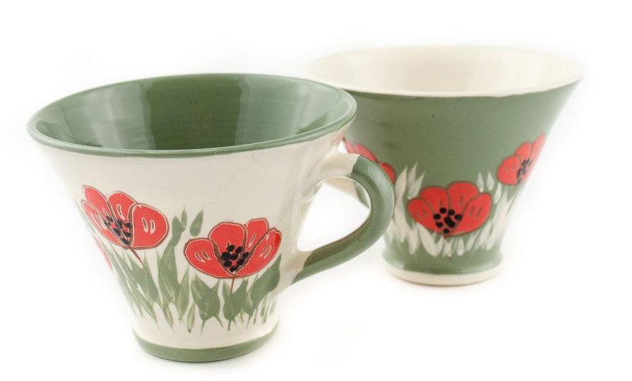 """Комплект малки керамични чаши """"Бяло и зелено"""""""