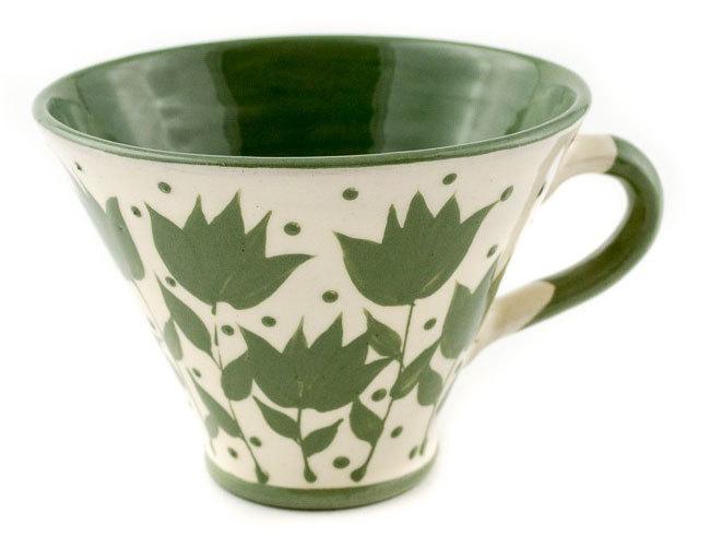"""Малка керамична чаша """"Бяло и зелено"""""""