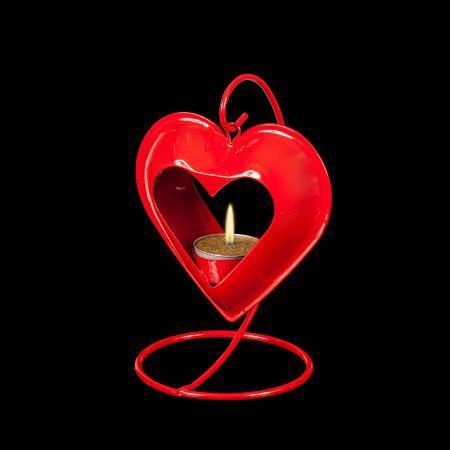 Фенер сърце червено