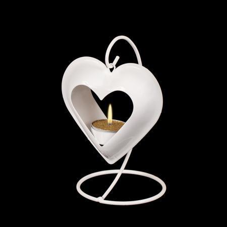 Фенер сърце бяло