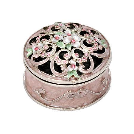 """Кутия за бижута """"Цветя"""" кръгла"""