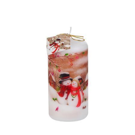 Коледна свещ снежни човечета 120/60мм
