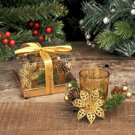 Коледна свещ + свещник злато