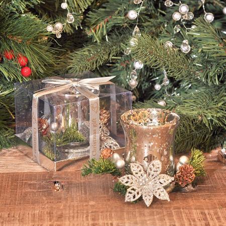 Коледна свещ + свещник сребро