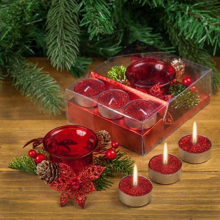 Коледни свещи червени